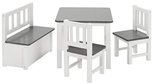 BOMI Kindermöbel Tisch und Stühle | Kindertruhenbank aus Kiefer Massiv Holz | Kindersitzgruppe für Kleinkinder, Mädchen und Jungen in Grau