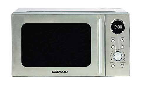 Daewoo 700W 20L Digital Microwave with 5 Power Levels and Defrost Function KOR3000DSL 60 Minute Timer and End Alarm Sound, Child Safety Lock and Easy Clean Stainless Steel Body, silver