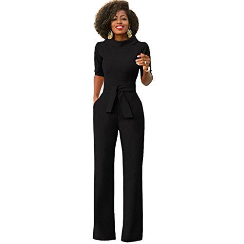 Damen Elegante Jumpsuit Schwarz Lang Weites Bein Overalls Hoher Taille Spielanzug mit Gurt Halbe Hülse Business Büro, S