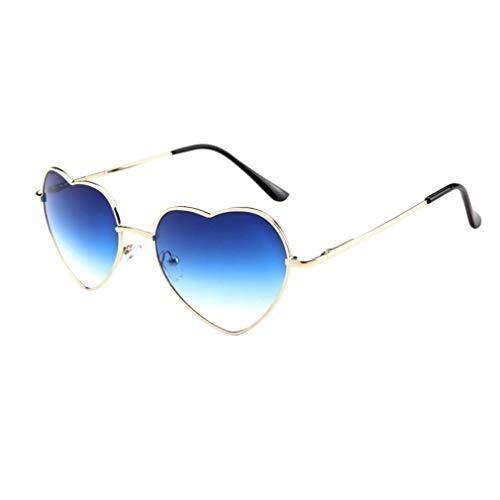 Qinglai Gafas de sol con forma de corazón para mujer con marco metálico para hombre y mujer Gafas de sol con Gafas de sol transparentes Stylo Clásico Retro Gafas de sol de color degradado