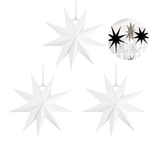 3 pcs Papier Stern Dekoration,30 cm Hänge-Deko aus Papier,faltsterne weihnachten,3D Sterne Form für Weihnachten,Sterne Form Papier,Papierstern Weihnachtsdeko,Weihnachtstern Papier Dekor(Weiß,3 set)