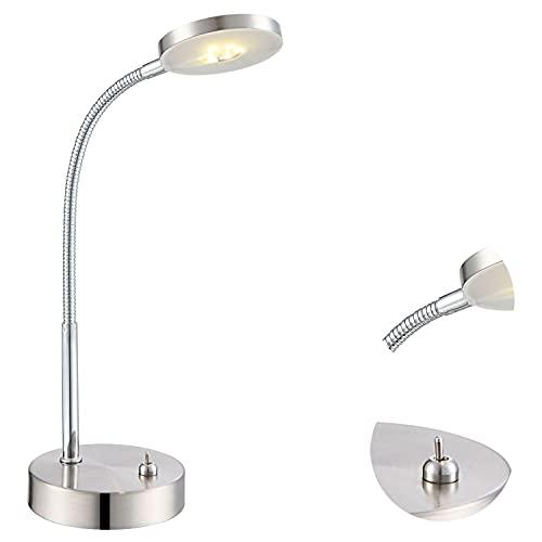 Lampe de bureau en métal et acrylique LED flexible (lampe de chevet, lampe de table, hauteur 30cm, ampoule 1 x 5 W, Blanc chaud, efficacité énergétique A+)