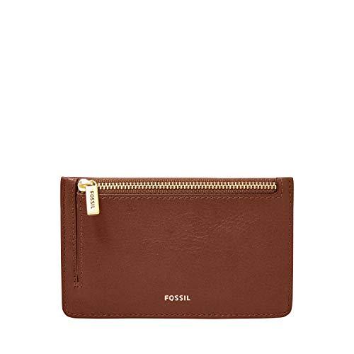 Fossil Women s Logan Leather Zip Card Case Wallet, Brown
