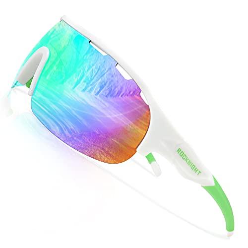 ROCKNIGHT HD Polarized Sport Sunglasses Women Tennis Baseball Anti Reflective Green Sunglasses rectangular uv400 protection