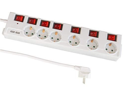 FeinTech MD000652 6-Fach Steckdosenleiste einzeln schaltbar mit USB
