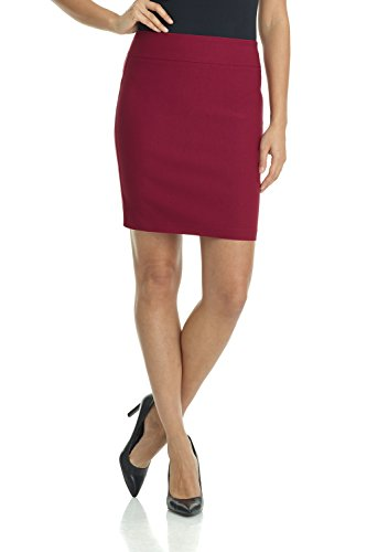 Rekucci Women's Ease Into Comfort Above The Knee Stretch Pencil Skirt 19 inch (X-Small,Burgundy)