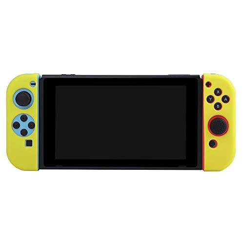 Docooler BUBM gamepad controller beschermhoes voor Nintendo Switch siliconen hoes zacht en belastbaar rond beschermhoes, geel