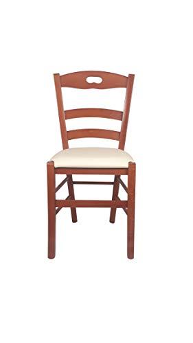 Sedia Loire, in Legno Massello, Varie Sedute e Colori, Imbottita, Alta qualità, Ordine Minimo 2 Pezzi (Ciliegio, Imbottita Beige)