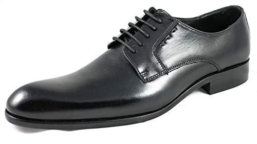 AMS Herren Business Schuhe Anzug Schnürhalbschuhe Hochzeit Mokassin Derby aus Leder / Schwarz3 45
