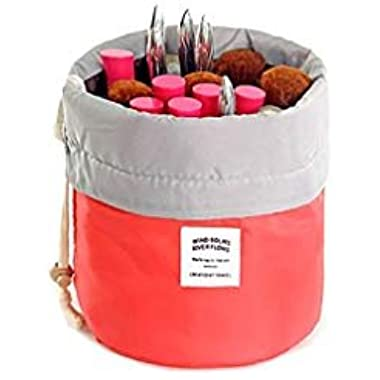 Travel Cosmetic Bags Barrel Makeup Bag,Women &Girls Portable Cosmetic Cases,Euow Multifunctional Toiletry Bucket Case Make up Organizer Storage pocket Soft Collapsible ,Waterproof (red)