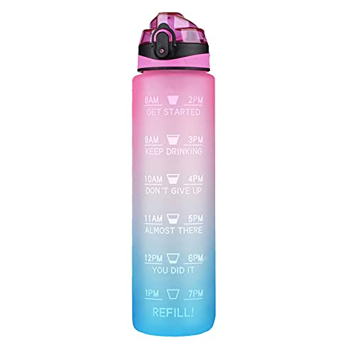 1L Sport Water Bottle with Time Marker, BPA Free Water Jug, Portable Gradient Color Bottle, Ensure You Drink Enough Water Daily for Fitness