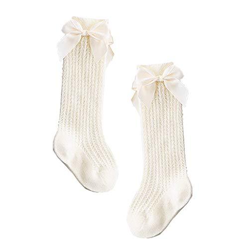 DREAMDEER Calcetines para bebés Lazos de algodón Calcetines hasta la Rodilla para niñas bebés Calcetines hasta la Rodilla para niños - Beige