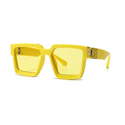 Huguo Retro Square Gafas de Sol Mujeres Diseñador de Marca Estilos de Verano Colores de Caramelo Moda Espejo de Plata Sombras Hombres UV400 YellowYellow