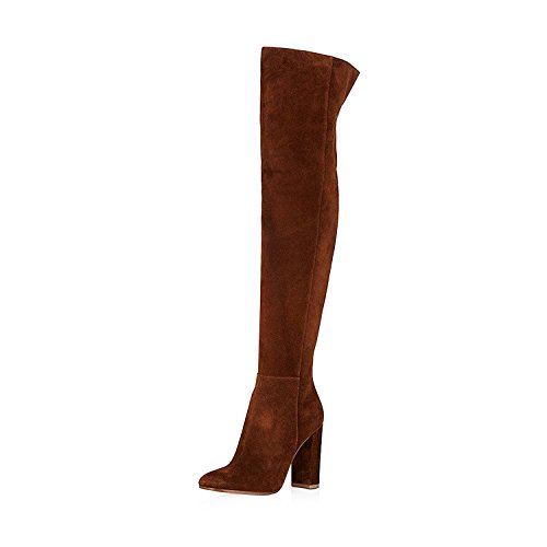 FSJ Women Over The Knee Chunky High Heels Stretch Thigh High Zipper Long Boots Shoes Size 8.5 Brown