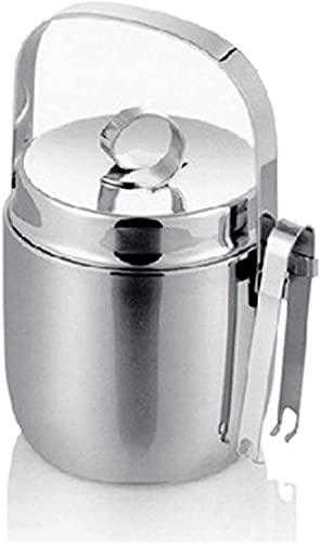 ZRDSZWZ Cubo de vino de hielo de acero inoxidable de doble pared confiable con tapa de pinzas portátil Chiller Bin Basket para fiestas, buffet