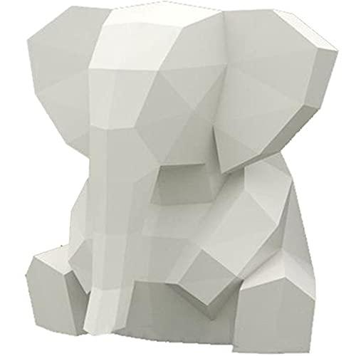 HAiHALA Escultura De Papel De Animal 3D DIY, Modelo De Papel De Elefante Hecho A Mano, Rompecabezas De Origami, Decoración del Hogar, Decoración De Dormitorio Infantil
