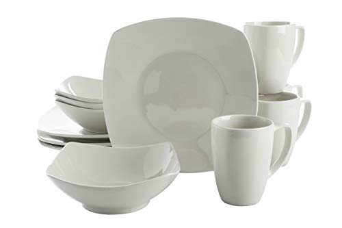 Gibson Home 118326.12R Zen Buffetware 12 Piece Dinnerware Set Service for 4, Square, White