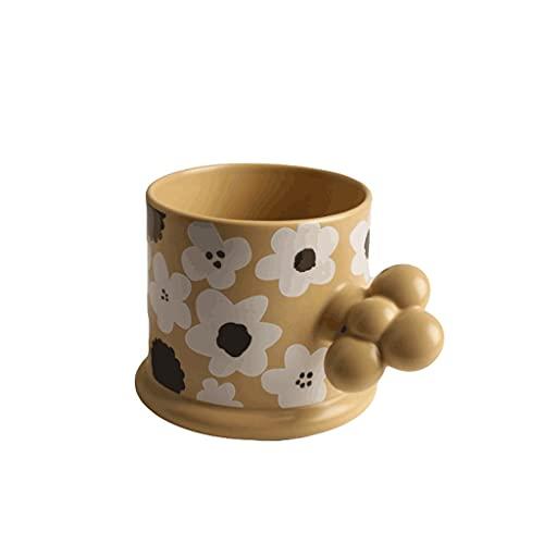 ZANZAN Copa de café de cerámica de Flor Creativa, Taza de Bebidas artísticas de 200 ml, Taza de café Reutilizable para Bebidas frías/Caliente-Amarillo/Verde/marrón/púrpura (Color : Brown)