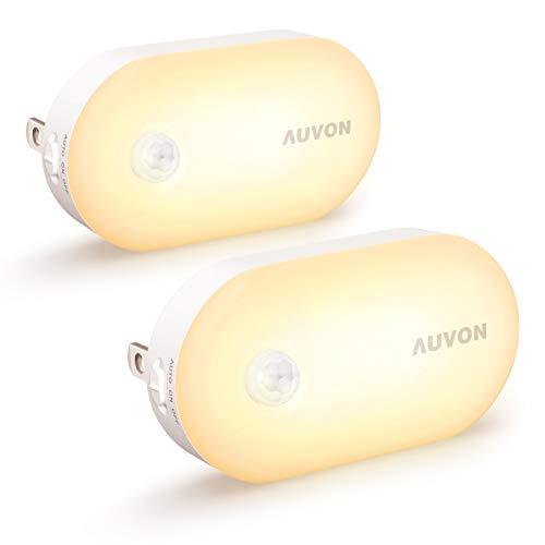 AUVON Ultra Bright Motion Sensor Night Light Plug in 120 Lumens Dimmable Smart LED Nightlight Plug Into Wall with 1lm to 120lm Brightness for Bathroom Hallway Kitchen Garage Toilet 2 Pack