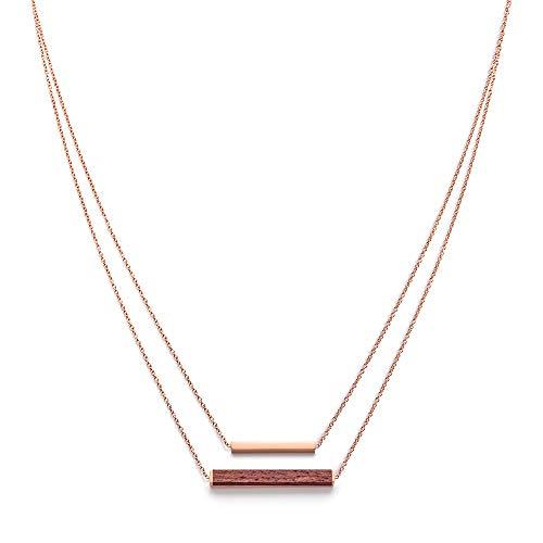 KERBHOLZ Holzschmuck – Geometrics Collection Rectangle Necklace Damen Halskette mit Anhänger aus Naturholz, roségold, größenverstellbar (Kettelänge 38 + 5 cm)
