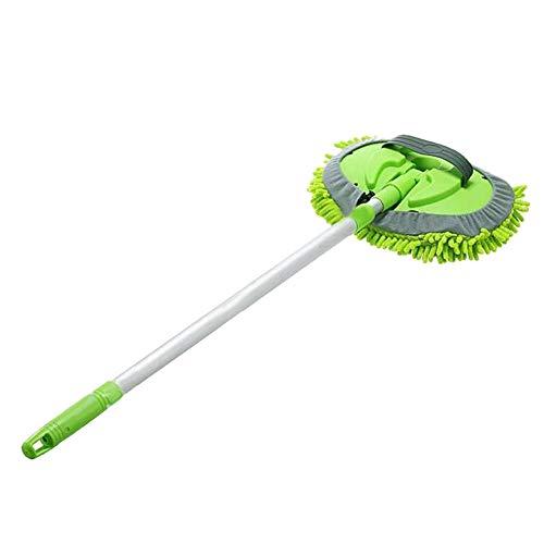 VANOLU Manopla 2 en 1 para lavado de coche con mango largo, microfibra de chenilla para lavado de coche, cepillo de extensión de 60 a 100 cm, herramienta de limpieza de arañazos