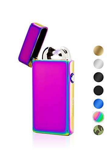 TESLA Lighter TESLA Lighter T08 Lichtbogen Feuerzeug, Plasma Double-Arc, elektronisch wiederaufladbar, aufladbar mit Strom per USB, ohne Gas und Benzin, mit Ladekabel, in edler Geschenkverpackung Regenbogen Regenbogen