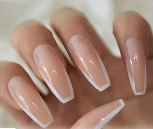 Nude Vibes Long coffin Press on Nails Long False Nail Tips 20 pcs Full Cover Acrylic fake Nails 10 Sizes Ballerina fake nail