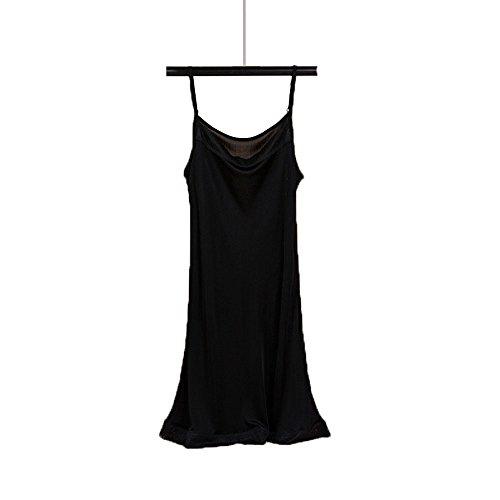 Hoffen 100% Seide Damen Unterkleid Mini Nachtkleid verstellbare Träger Soft Full Slip (Schwarz, XL)