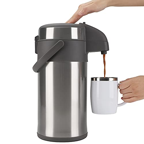 OKADI Coffee Flask - 4L Insulated Pump Action Airpot - Stainless Steel...