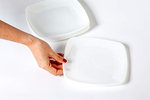 Pack 100 Platos Plástico Duro, Blanco, Cuadrado 20cm x 20cm - Lavable y Reutilizable - Vajilla Desechables para Catering Bodas Fiestas Cumpleaños Navidad. Grandes Calidades