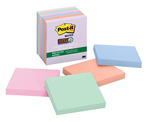 Post-it Super Sticky Recycled Notes, 3 in x 3 in, 6 Pads, 2x the Sticking Power, Bali Collection, Pastel Colors (Lavender, Apricot, Blue, Pink, Mint), 30% Recycled Paper (654-6SSNRP)