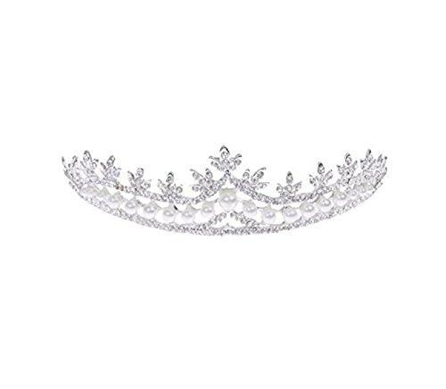 Unbekannt Tiara Haarschmuck Diadem Krone Perlen Strass Haarreifen Braut Hochzeit Reifen