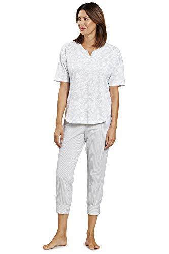 Rösch Damen Schlafanzug im Mustermix Malika, Smart Casual - Travelling in Africa, 1203009 46 Flower Stripe