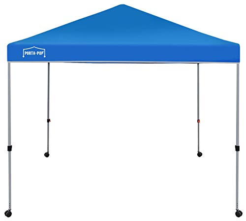 PORTA-POP One Button Easy Pop Up 10x10 ft Portable Folding Canopy Straight Leg with 4 Wheels and Deluxe Carry Bag, Blue