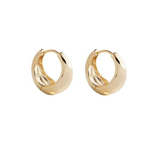 TIFLA ピアス レディース フープ リング シルバー925純銀製 平面 リングピアス 人気 両耳 2個セット金属アレルギー対応 個性 純銀製 誕生日 プレゼント (ゴールド)