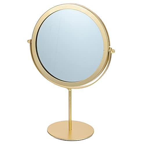 PIXNOR Espejo de Mesa con Soporte de Metal Espejo Giratorio de 2 Lados Espejo de Tocador Marco de Metal Espejo de Maquillaje para Baño Dormitorio Gloden