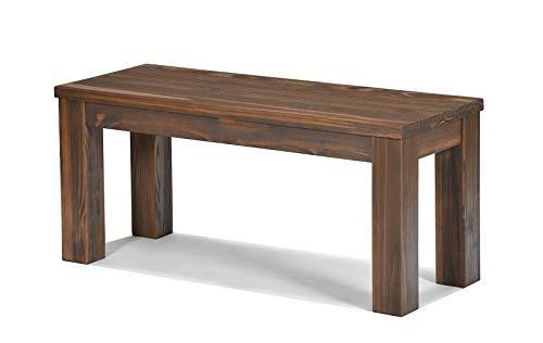 Naturholzmöbel Seidel Sitzbank 100x38cm Rio Santo Farbton Cognac braun Massivholz Pinie Bank geölt und gewachst, Optional: passende Tische