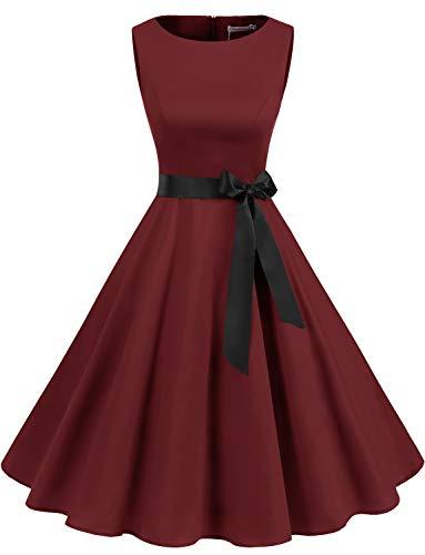 Gardenwed Weihnachten Kleider für Damen Knielang 1950er Vintage Cocktailkleid Rockabilly Retro Schwingen Weinrot Kleid Faltenrock Burgundy M
