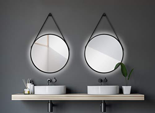 Talos rund mit hinterleuchteter Beleuchtung-Spiegel mit Aufhängegurt in Lederoptik-Hochwertiger Aluminiumrahmen, schwarz matt, Ø 50 cm