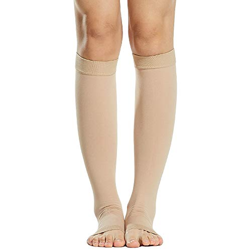 Nishore 1 par de meias de compressão Homens Mulheres 20-30mmHg Meias de compressão de dedos abertos Mangas de compressão para inchaço das veias varicosas