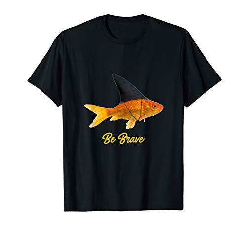 Goldfisch mit Hai Flosse - Mut Mutiger Fisch Angeln Aquarium T-Shirt