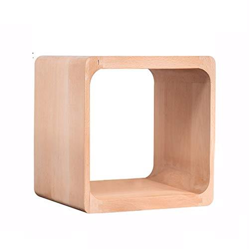 HANSHAN Mesa auxiliar Mesita de noche Taburete de madera maciza Gabinete de celosía Combinación de almacenamiento de dormitorio Gabinete pequeño Gabinete simple Taburete de zapatos Color de madera mac