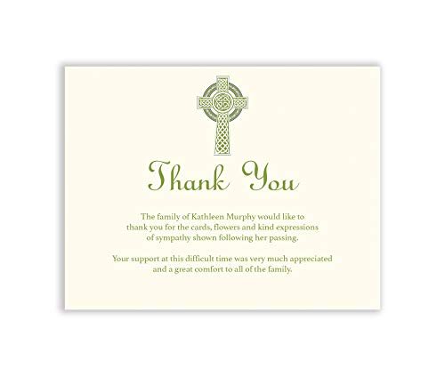 Celtic Cross Sympathy Acknowledgement Cards, Funeral Thank You and Bereavement Notes Personalized