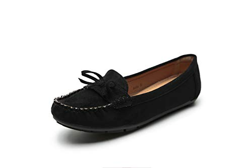 Comfortable Foldable Slip On Loafers Cushioned Insole Moccasins Flats Driving & Walking Shoes for Women, G-Anita10 Black Size 10