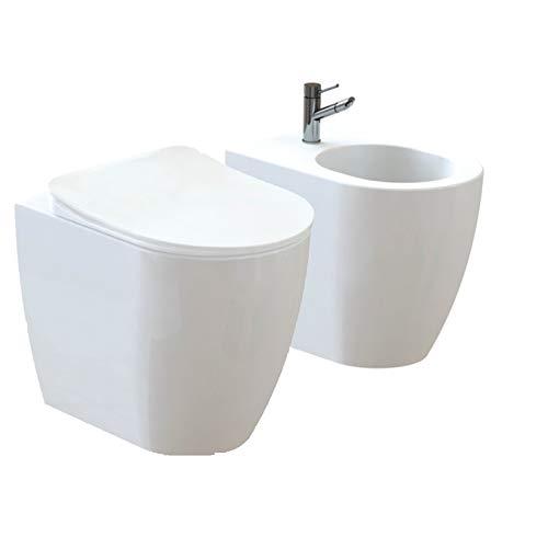 Design Keramik Stand-WC Toilette WC-Schüssel + Bidet inkl. WC Sitz aus Duroplast mit Absenkautomatik Oval FE350-11-SET