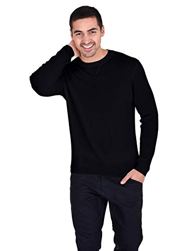 State Cashmere Essential Crewneck Sweater 100% Pure Cashmere Pullover Knitted Base Layer for Men (X-Large, Black)