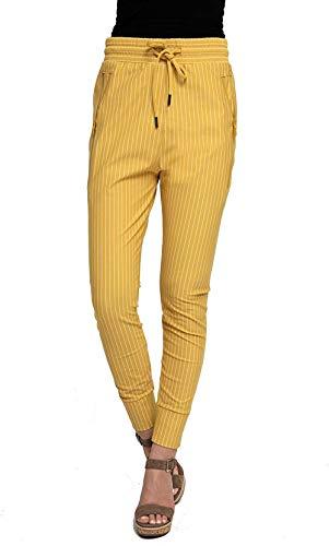 PJC Damen Joggpant Stoffhose Anzugshose Tapered Cropped Slim Fit,N508 - Mustard,XL