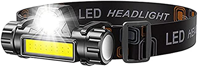 LED Headlamp Flashlight Rechargeable, Super Bright Head Lamp Suitable for Camping, Hiking, Climbing, Hunting, Jogging, Outdoor Headlight Includes COB Light,Headlamps for Adults, Kids [1 PACK]