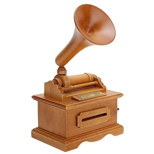YTREI Scatola di Musica in Legno grammofono Scatola Musicale Vintage Mano manovella Scatola Musicale...