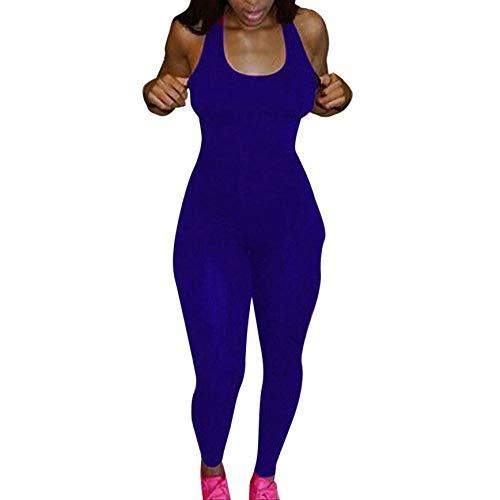 Trainingsanzug Damen Sport Jumpsuit Rückenfrei Yoga Bodysuit Overall Gefaltet Leggings Sporthosen Bandage Playsuits Jogging Strampler Hosenanzug Trainingsanzug